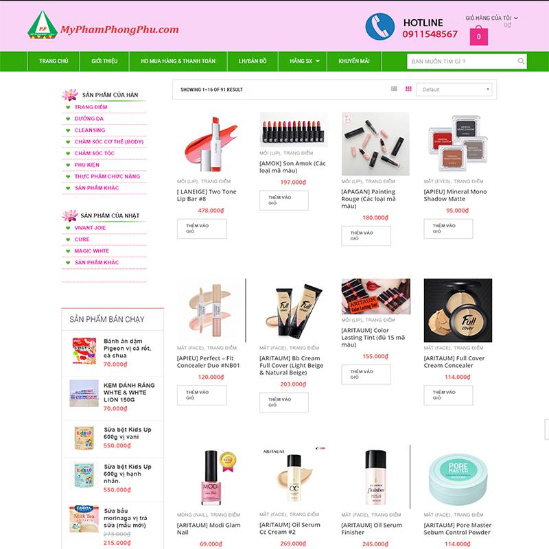 Thiết kế web mỹ phẩm Nhật